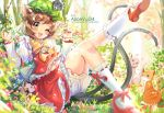 1girl :3 ;d alicevu134 animal animal_ears bloomers blurry bow brown_hair cat cat_ears cat_tail chen commission depth_of_field fang flower frilled_skirt frills full_body grass hat highres jewelry mary_janes mob_cap nekomata one_eye_closed open_mouth plant red_nails shirt shoes short_hair single_earring skirt smile tail touhou tree underwear vest white_legwear yellow_eyes youkai