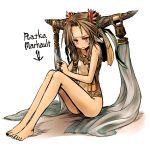 1girl bare_legs bare_shoulders barefoot blush brown_hair character_name fingers_together hair_leaf highres horn_ornament horns kotoba_noriaki long_legs looking_at_viewer nose_blush original parted_lips red_eyes simple_background sitting slit_pupils solo sweatdrop trembling vest white_background
