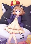 1girl animal_ear_fluff animal_ears bangs blue_bow blue_eyes blue_jacket blush bow brown_background brown_dress brown_hair cat_ears cat_girl cat_pillow cat_tail closed_mouth crown diagonal_stripes dress eyebrows_visible_through_hair feet_out_of_frame flower frilled_dress frills hair_bow hands_up highres idolmaster idolmaster_million_live! idolmaster_million_live!_theater_days jacket kemonomimi_mode long_sleeves lying on_back open_clothes open_jacket signature sleeves_past_wrists socks solo striped striped_tail suou_momoko tail tokenbox white_bow white_flower white_legwear