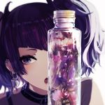 1girl bangs bottle commentary_request diagonal_bangs ear_piercing earrings flower idolmaster idolmaster_shiny_colors jewelry looking_at_viewer minyom open_mouth piercing portrait purple_flower purple_hair simple_background solo tanaka_mamimi twintails violet_eyes white_background white_flower