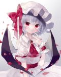 1girl back_bow bat_wings bow brooch commentary_request dress fingernails frilled_sleeves frills grey_background hand_up hat hat_bow highres jewelry lavender_hair long_fingernails looking_at_viewer mob_cap petals puffy_short_sleeves puffy_sleeves red_bow red_eyes red_nails red_neckwear remilia_scarlet short_hair short_sleeves solo touhou upper_body white_dress white_headwear wings wrist_cuffs yukia_(yukia_777)