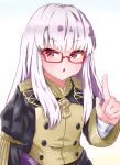 1girl absurdres bespectacled fire_emblem fire_emblem:_three_houses fire_emblem_heroes garreg_mach_monastery_uniform glasses highres lillian8710 long_hair long_sleeves lysithea_von_ordelia open_mouth pink_eyes red-framed_eyewear simple_background solo uniform upper_body white_hair