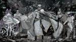 5girls azur_lane boots breasts chapayev_(azur_lane) coat_dress fur_trim gangut_(azur_lane) gloves hair_between_eyes hat jacket kirov_(azur_lane) large_breasts long_hair looking_at_viewer military military_hat military_uniform multiple_girls naruwe purple_hair red_eyes snow snowing sovetskaya_rossiya_(azur_lane) standing tashkent_(azur_lane) thigh-highs thigh_boots uniform weapon white_hair white_headwear white_jacket winter_clothes