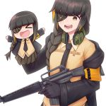 1girl absurdres armband assault_rifle bangs braid brown_hair character_doll eyepatch girls_frontline gloves gun hand_puppet headphones headphones_around_neck highres holding holding_gun holding_weapon jacket jacy long_hair m16a1 m16a1_(girls_frontline) mole mole_under_eye multicolored_hair necktie open_mouth puppet rifle scar smile solo streaked_hair weapon