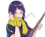 1girl bangs black_shirt blue_eyes blush boku_no_hero_academia breasts commentary_request guitar highres holding holding_instrument instrument jirou_kyouka kobaji looking_at_viewer open_mouth purple_hair shirt short_hair short_sleeves simple_background smile solo white_background