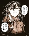 1girl @_@ aiming_at_viewer black_background dated ear_piercing earrings fang grin gun hair_between_eyes handgun heart highres holding holding_gun holding_weapon jacket jewelry kotoba_noriaki long_sleeves looking_at_viewer monochrome one_side_up original outline piercing pistol ribbon sepia short_hair signature simple_background smile solo spoken_heart translation_request upper_body weapon white_outline
