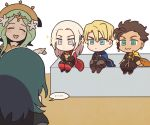 ... 2boys 3girls :3 ^_^ blonde_hair blue_cape blue_eyes blue_hair braid brown_hair byleth_(fire_emblem) byleth_(fire_emblem)_(female) cape chibi claude_von_riegan closed_eyes closed_mouth commentary commentary_request crossed_arms crown dark_skin dark_skinned_male dimitri_alexandre_blaiddyd earrings edelgard_von_hresvelg fire_emblem fire_emblem:_three_houses flower from_behind garreg_mach_monastery_uniform green_eyes green_hair hair_flower hair_ornament hair_ribbon jewelry korean_commentary long_hair long_sleeves multiple_boys multiple_girls open_mouth pantyhose red_cape rhea_(fire_emblem) ribbon short_hair single_braid sitting smile spoken_ellipsis ssalbulre tiara uniform violet_eyes white_hair yellow_cape