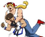 2boys baseball_cap blonde_hair denim fatal_fury fingerless_gloves gloves hat heart jeans kim_kaphwan long_hair multiple_boys nyattoberry pants ponytail shirt sleeveless terry_bogard white_shirt