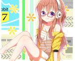1girl :q bangs bare_legs barefoot blush brown_hair camisole closed_mouth commentary_request deyui english_text eyebrows_visible_through_hair feet_out_of_frame glasses gochuumon_wa_usagi_desu_ka? hair_between_eyes headphones hood hood_down hooded_jacket hoto_mocha jacket knees_up long_hair off_shoulder open_clothes open_jacket red-framed_eyewear short_shorts short_sleeves shorts sitting smile solo striped striped_camisole tongue tongue_out very_long_hair violet_eyes white_camisole white_shorts yellow_jacket