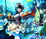 1boy 1girl :d bangs black_hair blue_eyes blunt_bangs bottle bridge company_name copyright_name coral crab cup dragon fish highres holding holding_tray lobster long_hair mermaid merman monster_boy monster_girl mug official_art open_mouth puffy_short_sleeves puffy_sleeves rinneroll seal short_sleeves skirt smile stairs tray turtle underwater waiter waitress white_skirt wrist_cuffs zenonzard