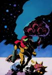 1girl blood clenched_hand dated facing_viewer hand_cannon hellboy_(comic) helmet highres metroid_(creature) mike_mignola_(style) power_armor rariatto_(ganguri) samus_aran signature skull standing
