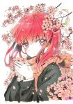 1girl bangs branch cherry_blossoms commentary_request highres jacket long_hair long_sleeves looking_at_viewer nariie_shin'ichirou original petals redhead scarf solo traditional_media upper_body white_background wind