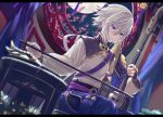 1boy blue_eyes csyko fate/grand_order fate_(series) full_moon gao_changgong_(fate) instrument male_focus mask moon music playing_instrument silver_hair sitting window