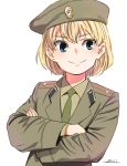 1girl alternate_costume bangs beret blonde_hair blue_eyes brown_headwear brown_jacket brown_shirt closed_mouth commentary crossed_arms dress_shirt emblem epaulettes eyebrows_visible_through_hair girls_und_panzer green_neckwear hat horikou insignia jacket katyusha_(girls_und_panzer) long_sleeves looking_at_viewer military military_hat military_uniform necktie shirt short_hair smile solo soviet_union uniform wing_collar