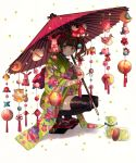 1girl bangs black_legwear blunt_bangs brown_hair candy closed_mouth commentary_request earrings floral_print flower food full_body furisode green_eyes hair_flower hair_ornament highres hinamatsuri holding holding_umbrella japanese_clothes jar jewelry kimono konpeitou looking_at_viewer oriental_umbrella original print_kimono short_twintails solo squatting stuffed_animal stuffed_bunny stuffed_cat stuffed_dog stuffed_toy teddy_bear thigh-highs torino_enaga twintails umbrella white_background zouri