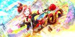 blush character_name dress love_live!_school_idol_festival_all_stars nishikino_maki redhead roses short_hair smile violet_eyes wink
