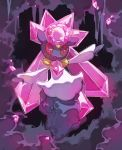 cave commentary creature diancie english_commentary full_body gen_8_pokemon looking_at_viewer no_humans open_arms pinkgermy pokemon pokemon_(creature) signature solo