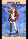 1boy antenna_hair belt black_legwear blue_background blue_eyes boots copyright_name full_body goggles goggles_on_head hand_on_hip hand_up highres kihato long_hair long_sleeves marron_piani pixiv_fantasia pixiv_fantasia_age_of_starlight redhead shorts single_thighhigh solo standing thigh-highs two_side_up