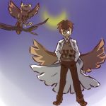 brown_hair coat costume glasses hitec moemon moon nintendo noctowl owl personification pokemon pokemon_(game) pokemon_gsc short_hair simple_background standing sweater wings