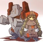 hat hitec long_hair moemon nintendo personification pokemon pokemon_(game) pokemon_rse regirock shadow simple_background standing twintails very_long_hair