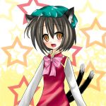 auauaua bad_id brown_hair cat_ears cat_tail chen earrings hat jewelry lowres multiple_tails orange_eyes solo star tail touhou
