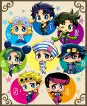 1girl 6+boys absurdres black_hair blonde_hair blue_hair chibi giorno_giovanna green_hair higashikata_jousuke higashikata_jousuke_(jojolion) highres johnny_joestar jojo_no_kimyou_na_bouken jojolion jonathan_joestar joseph_joestar_(young) kuujou_jolyne kuujou_joutarou motsu_(40217141) multiple_boys purple_hair steel_ball_run