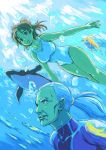 brown_hair diving diving_suit fish freediving haru_masamichi hirokazu one-piece_swimsuit ponytail real_drive swimming swimsuit underwater white_hair