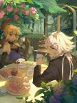 1boy 1girl absurdres ahoge artoria_pendragon_(all) black_gloves black_jacket blonde_hair blue_dress cake candy commentary_request cream cup dress elbow_gloves fate/grand_order fate/stay_night fate_(series) flower food gloves green_eyes hair_ornament highres holding holding_cup huge_filesize jacket kotatsu_kaya long_hair merlin_(fate) outdoors pink_flower pink_rose red_flower red_rose ribbon rose saber sandwich sleeveless sleeveless_dress smile teacup teapot white_hair
