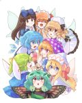 6+girls ^_^ aqua_hair beret blonde_hair blue_bow blue_eyes blue_hair blush bow brown_eyes brown_hair butterfly_wings cheunes cirno closed_eyes clownpiece commentary daiyousei double_v drill_hair eternity_larva facing_viewer fairy_wings grin hair_bow hand_up hands_on_own_cheeks hands_on_own_face hands_up hat hat_bow hat_ribbon headdress highres holding holding_torch ice ice_wings index_finger_raised jester_cap lily_white long_hair looking_at_another looking_at_viewer looking_up luna_child multiple_girls orange_hair pink_bow polka_dot polka_dot_hat puffy_short_sleeves puffy_sleeves red_ribbon ribbon short_hair short_sleeves side_ponytail simple_background smile star star_print star_sapphire sunny_milk torch touhou v v-shaped_eyebrows violet_eyes white_background white_headwear wings yellow_bow
