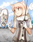 ... 3girls animal_ears bangs blonde_hair brown_eyes buttons closed_eyes commentary_request common_raccoon_(kemono_friends) day elbow_gloves expressionless eyebrows_visible_through_hair eyes_visible_through_hair fang fennec_(kemono_friends) fishing fishing_line fishing_rod fox_ears fur_collar gloves grey_hair hands_up hat highres holding kemono_friends light_brown_hair looking_at_another looking_to_the_side medium_hair multicolored_hair multiple_girls nakami ocean open_mouth outdoors parted_bangs pleated_skirt raccoon_ears shirt skirt smile solo_focus spoken_ellipsis straw_hat sweater tibetan_sand_fox_(kemono_friends) two-tone_hair upper_body vest water white_hair