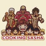 armin_arlert armored_titan christa_lenz colossal_titan cookie cooking_mama eren_yeager food hange_zoe mikasa_ackerman rogue_titan sasha_braus ymir_(shingeki_no_kyojin)