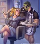 1boy 1girl alternate_costume andre_parcesepe apron arm_up armor bare_arms blonde_hair blue_eyes bride business_suit buttons cellphone chair coffee_pot commentary commission contemporary couple crossed_legs cup day doom_(game) doomguy drink english_commentary fingernails formal groom hand_on_another's_cheek hand_on_another's_face hand_up helm helmet hetero high_ponytail highres holding holding_phone holding_tray indoors jacket leg_hair lips long_hair long_sleeves looking_at_another maid metroid metroid_(creature) mole mole_under_mouth muscle office_chair pencil_skirt phone photo_(object) samus_aran shirt short_sleeves sidelocks sitting skirt skirt_suit smartphone smile standing suit suit_jacket tray twitter_username watermark wedding_photo