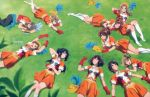 6+girls :d absurdres ahoge arms_up band_uniform bangs bare_legs black_hair black_pants bottle brown_eyes brown_hair buttons character_request closed_eyes curly_hair detached_collar exhausted expressionless feathers gekijouban_hibike!_euphonium gloves gloves_removed grass hair_ornament hair_ribbon hat hat_feather hibike!_euphonium highres hisaishi_kanade katou_hazuki kawashima_sapphire kneehighs kousaka_reina leaf lying marching_band marching_band_baton medium_hair midriff multiple_girls nakagawa_natsuki navel official_art on_back on_grass on_ground on_side on_stomach one_eye_closed open_clothes open_mouth open_vest orange_skirt oumae_kumiko outstretched_arms pants parted_lips pleated_skirt ponytail red_gloves ribbon short_hair short_sleeves skirt sleeping smile surprised thighs towel vest violet_eyes water_bottle white_footwear white_legwear wing_collar yellow_headwear yoshikawa_yuuko