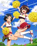 2girls :d absurdres ahoge arm_up arms_up bandaid bandaid_on_face bangs black_hair black_sports_bra bloomers blue_bloomers blue_sky boots brave_witches breasts brown_eyes brown_hair cheering cheerleader clouds condensation_trail confetti crop_top day embarrassed flat_chest grey_eyes hair_ornament hairclip hand_on_hip highres holding holding_pom_poms jumping kanno_naoe karibuchi_hikari leg_up medium_breasts medium_hair midriff multiple_girls navel official_art open_mouth outdoors pleated_skirt pom_poms red_skirt shoes skirt sky smile sneakers sports_bra star tree underwear white_crop_top white_footwear white_legwear world_witches_series