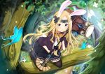 1girl abigail_williams_(fate/grand_order) absurdres animal_ears bangs black_bow black_dress black_footwear black_gloves black_legwear blonde_hair blue_eyes boots bow bug bunny_girl bunny_tail butterfly butterfly_hair_ornament commentary dress fate/grand_order fate_(series) fingerless_gloves gloves hair_ornament highres holding holding_hammer insect kaya_(tyhk7874) long_hair looking_at_viewer orange_bow outdoors parted_bangs rabbit_ears solo tail thigh-highs tree