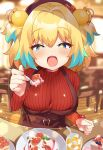 +_+ 1girl :3 alternate_costume bangs belt blonde_hair blue_eyes blue_hair blurry blurry_background blush bombergirl breasts cake commentary_request cup dessert eyebrows_visible_through_hair fangs fisheye food fruit grenade_hair_ornament hair_ornament highres holding holding_spoon ice ice_cube large_breasts long_sleeves msp_sammy multicolored_hair open_mouth pine_(bombergirl) plate pov red_sweater ribbed_sweater short_hair sitting skin_fangs solo spoon suspenders sweater symbol-shaped_pupils table turtleneck turtleneck_sweater two-tone_hair yellow_pupils