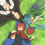 3girls absurdres animal_ears black_shirt blue_bow blue_hair blush bow breasts brooch brown_hair cape closed_eyes commentary day disembodied_head dress drill_hair frilled_sleeves frills from_above grass grass_root_youkai_network green_kimono hair_bow hands_up head_fins high_collar highres imaizumi_kagerou japanese_clothes jewelry kimono long_hair long_sleeves lying medium_breasts multiple_girls on_back on_ground on_side open_mouth outdoors red_cape redhead sekibanki senzaicha_kasukadoki shirt short_hair signature sleeping smile touhou upper_body wakasagihime white_dress wide_sleeves wolf_ears
