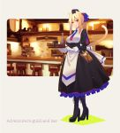 1girl akino_sora animal_ears bangs bar bar_stool black_dress black_footwear black_headwear blonde_hair blue_neckwear blush boots bottle breasts cat_ears cat_girl cat_tail closed_mouth commentary_request cross-laced_footwear cup dress eyebrows_visible_through_hair frilled_dress frills gloves gradient_neckwear grey_background hair_between_eyes hair_ribbon hat high_heel_boots high_heels highres holding holding_tray juliet_sleeves lace-up_boots long_hair long_sleeves medium_breasts mini_hat mug necktie original ponytail puffy_sleeves red_eyes red_neckwear ribbon shirt sidelocks smile solo stool tail tray white_gloves white_shirt