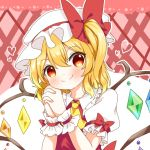 1girl blonde_hair blush checkered checkered_background cravat eyebrows_visible_through_hair flandre_scarlet gloves hair_between_eyes hand_on_own_cheek hands_clasped hat hat_ribbon head_tilt heart interlocked_fingers lace_border looking_at_viewer mob_cap natsune_ilasuto one_side_up own_hands_together pink_background puffy_short_sleeves puffy_sleeves ribbon shirt short_hair short_sleeves smile solo touhou two-tone_background upper_body white_background white_gloves white_headwear white_shirt wings wrist_cuffs yellow_neckwear