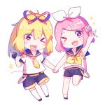 >_o 2girls alternate_hairstyle alternate_headwear bangs baozishark black_legwear black_shorts blonde_hair blush bow candy chibi cosplay food hair_bow hair_ribbon heart heart-shaped_pupils highres holding holding_hands holding_lollipop holding_microphone kagamine_len kagamine_len_(cosplay) kagamine_rin kagamine_rin_(cosplay) knee_up lollipop looking_at_viewer microphone multiple_girls necktie one_eye_closed pink_hair ponytail ribbon saigyouji_yuyuko school_uniform serafuku shiny shiny_hair shirt short_hair shorts sleeveless sleeveless_shirt smile socks sparkle symbol-shaped_pupils t-shirt thigh-highs touhou tress_ribbon triangular_headpiece vocaloid white_legwear white_shirt yakumo_yukari yellow_belt yellow_neckwear