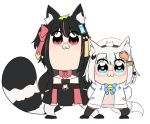2girls :3 animal_ear_fluff animal_ears arms_behind_back bailingxiao_jiu bell beret bkub_(style) black_bow black_footwear black_hair black_legwear blue_bow blue_eyes blue_hair blush bow braid brown_sweater closed_mouth fox_ears fox_girl fox_hair_ornament fox_tail glasses hair_bow hair_ornament hairclip hat jacket jingle_bell leaf leaf_on_head multicolored_hair multiple_girls open_clothes open_jacket original pince-nez pink_bow pink_hair poptepipic raccoon_ears raccoon_girl raccoon_tail red-framed_eyewear red_eyes shoes short_hair simple_background standing streaked_hair striped_tail sweater tail thigh-highs white_background white_hair white_headwear white_jacket white_legwear