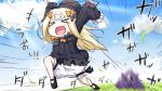 >_< 1girl :d abigail_williams_(fate/grand_order) arms_up artist_name bangs black_bow black_dress black_footwear black_headwear blonde_hair bloomers blue_sky bow bug butterfly closed_eyes clouds cloudy_sky commentary_request crossed_bandaids day dress eyebrows_visible_through_hair fate/grand_order fate_(series) hair_bow hat highres holding insect long_hair long_sleeves motion_blur neon-tetora open_mouth orange_bow outdoors parted_bangs running shoes sky sleeves_past_fingers sleeves_past_wrists smile solo translation_request underwear v-shaped_eyebrows very_long_hair white_bloomers xd