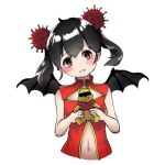 1girl antenna_hair bee_sang_(ms0603749) black_hair china_dress chinese_clothes commentary_request corona-chan coronavirus double_bun dress original personification wings