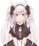 1girl apron braid breasts destiny_child dress guma_(muriopscuv) highres long_hair maid maid_apron maid_headdress skirt waitress white_apron