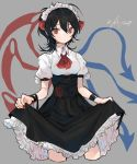 1girl asymmetrical_wings black_hair black_skirt breasts collared_shirt cropped_legs dated fingernails grey_background hair_between_eyes hair_ribbon highres houjuu_nue long_hair looking_at_viewer maid_headdress makita_(vector1525) medium_breasts nail_polish puffy_short_sleeves puffy_sleeves red_eyes red_nails red_neckwear red_ribbon ribbon shirt short_sleeves simple_background skirt skirt_hold solo touhou underbust white_shirt wing_collar wings wristband