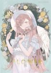 1girl bangs braid brown_eyes butterfly_on_finger commentary_request dress english_text feathered_wings flower holding holding_flower long_hair looking_at_viewer original ririfa side_braid solo swept_bangs very_long_hair white_headwear white_wings wings yellow_butterfly