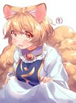 ! 1girl animal_ears bangs blonde_hair blush breasts brown_eyes commentary_request dress eyebrows_visible_through_hair fox_ears fox_tail frilled_shirt_collar frills highres large_breasts looking_at_viewer masanaga_(tsukasa) multiple_tails no_hat no_headwear open_mouth short_hair simple_background solo spoken_exclamation_mark sweat tabard tail touhou upper_body white_background white_dress yakumo_ran