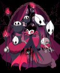 6+others animal_print bat_print black_background brumm cloak closed_eyes commentary_request curtains dated divine_(hollow_knight) fire flying full_body fur_collar grimm_(hollow_knight) grimmchild grimmkin grimmsteed half_mask highres holding_torch hollow_knight horns looking_at_viewer mask multiple_others no_humans peeking_out pink_fire red_eyes sango_(y1994318) smile standing torch