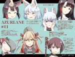 /\/\/\ 4girls :d admiral_hipper_(azur_lane) ahoge akagi_(azur_lane) animal_ear_fluff animal_ears azur_lane bangs black_gloves blonde_hair blue_background blush blush_stickers breasts brown_eyes brown_hair clenched_teeth closed_eyes commentary_request dated dress eyebrows_visible_through_hair fox_ears gloves green_eyes grey_dress grey_headwear hair_between_eyes hands_on_another's_face hebitsukai-san highres kaga_(azur_lane) letterboxed long_hair medium_breasts mole mole_on_breast multiple_girls open_mouth parted_lips prinz_eugen_(azur_lane) red_eyes side_ponytail sideboob smile tears teeth translation_request twitter_username two_side_up v-shaped_eyebrows visor_cap white_hair zuikaku_(azur_lane)