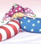 1girl arioridream ass close-up clownpiece fairy_wings hat jester_cap lying on_stomach pantyhose polka_dot simple_background solo star star_print striped touhou transparent_wings wings